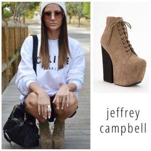 LIKE NEW Jeffrey Campbell Freda suede platforms